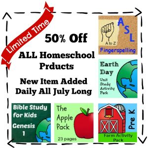 Simple At Home Education Shop Grand Opening Sale. 50% off Everything and a new item every day in JULY! Don't miss it.