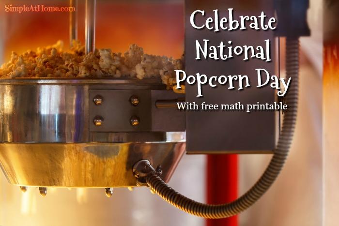 National popcorn day. Free Popcorn Math Printable